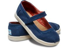 Navy Canvas Tiny TOMS Mary Janes hero