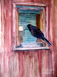 Original watercolor of old red barn and raven Paintings For Sale, Barn Paintings, Backyard Birds, Red Barns, Watercolor Bird, Artist Painting, Bird Art, Beautiful Birds, Pixel Art