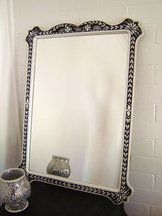 My Faux Bone Inlay Mirror project - after