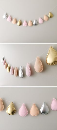 Modern Scandi Nursery Raindrops Garland, Metallic Silver, Gold, Pink and Peach, Children and Baby Room Decor, Baby Shower