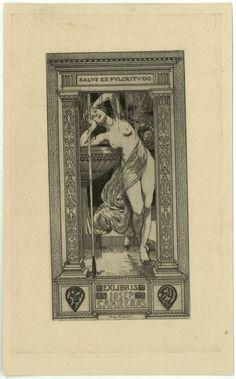 Ex-libris Josep Carreras. Alexandre de Riquer. Cap a 1908
