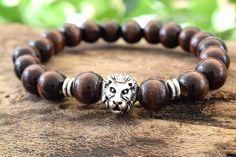 Men's Lion Head Bracelet with Dark Brown Wood Beads. Brown Wood, Dark Brown, Bracelets For Men, Beaded Bracelets, Wood Bracelet, Men's Jewelry, Beads, Gallery, Silver
