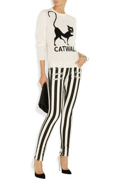 Moschino Cheap and Chic|Embroidered cat-intarsia cashmere sweater|NET-A-PORTER.COM