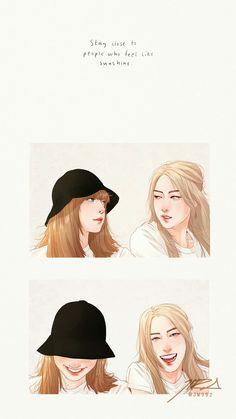 Cute Lesbian Couples, Sunflower Wallpaper, Kpop Drawings, Blackpink Jennie, Blackpink Lisa, Kpop Fanart, Aesthetic Iphone Wallpaper, Kpop Aesthetic, Caricature