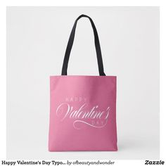 Happy Valentine's Day Typography   Tote Bag Edge Design, Personalized Products, Happy Valentines Day, Typography, Reusable Tote Bags, Elegant, Simple, Top, Gifts