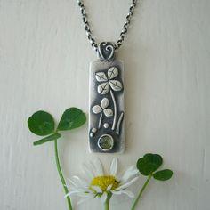 Summer Sale Four Leaf Clover Necklace Pendant by ElizabethSMurray