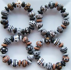 Black, brown, white and grey bracelet by polymerclaybeads, via Flickr