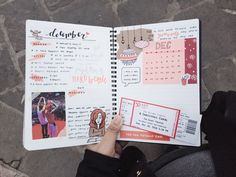 22/12/16 9:51 AM // this week's bullet journal spread so far. Going for reddish colors bc it's almost Christmas!