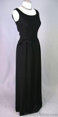 1960s Black Silk Evening Gown from Bonwit Teller
