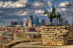"""This impressive statue of an American Indian on horseback looking north toward downtown Kansas City from Penn Valley Park is a memorial to local Native American tribes. Originally created for the Panama-Pacific Expo held in San Francisco in 1915. """"Scout"""" 