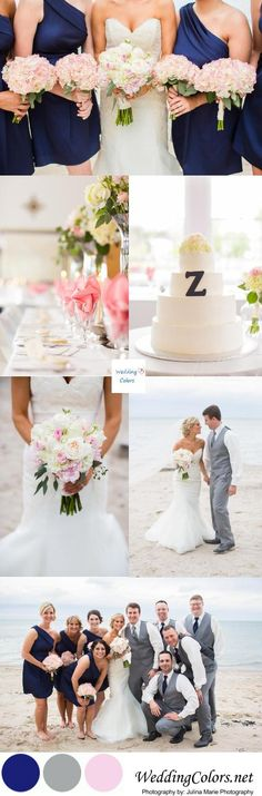 Love love love these colors!! Navy Blue Blush Pink Wedding Palette| Photo's by: Julina Marie Photography