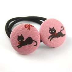 Cat Ponytail Holders  Cat Fabric Covered Buttons  by MelissaAbram, $5.50