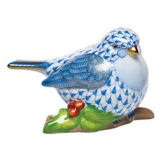 "Herend Hand Painted Porcelain Figurine ""Little Bird on Holly"" Blue Fishnet Gold Accents. Clay Birds, Ceramic Birds, Pottery Animals, Porcelain Ceramics, Porcelain Tiles, Painted Porcelain, Fine Porcelain, Glass Animals, China Painting"