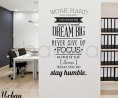 Vinyl Wall Sticker Decal Work Hard by urbanwalls on Etsy
