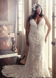 Wedding Dress TUSCANY MARIE by Maggie Sottero - Search our photo gallery for pictures of wedding dresses by Maggie Sottero. Find the perfect dress with recent Maggie Sottero photos. How To Dress For A Wedding, Plus Size Wedding Gowns, Lace Wedding Dress, Maggie Sottero Wedding Dresses, Plus Size Brides, Tulle Wedding, Mermaid Wedding, Garden Wedding, Western Wedding Dresses