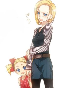 Dragonball Z Android 18 and her daughter, Maron Android 18 And Krillin, Krillin And 18, Dragon Ball Z, Manga Anime, Anime Art, Dbz Pictures, Dragonball Super, C 18, Z Arts