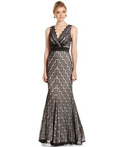 cb54b3764cf6 JS Collections Dress, Sleeveless Chevron-Lace Gown & Reviews - Dresses -  Women - Macy's