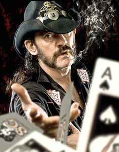 Lemmy throwing cards