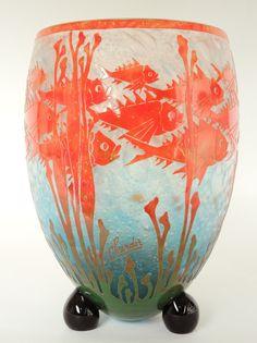 "Grand Vase ""Poissons"", Charles Schneider, Le Verre Français"