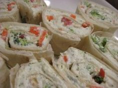 Veggie Pinwheels. Looks so good!! Night have to try these for Superbowl!    You will need: 8-10 flour tortillas 5 different veggies 2/3 cup each 8 oz cream cheese 8oz sour cream 1 ranch packet Start out with 5...