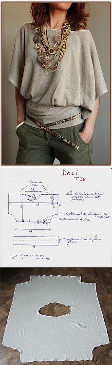 Невероятно простой крой стильной кофты.
