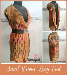 Long crochet vest with big lapel – casual and trendy layering piece to pair with plain, solid colored outfits.