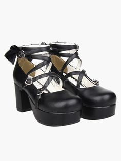 b40362a7d1b Black Platform Chunky Heels Lolita Shoes PU Ankle Straps Bow Decor Round  Toe  Heels