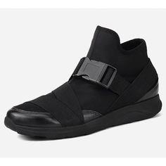 Cool Black Leather Hip Hop High Tops Shoes for Men SKU-1280031