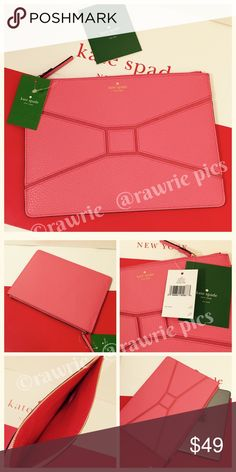 """New Kate Spade pebbled leather large bow tie pouch 100% authentic Kate Spade gia zip clutch pouch. """"Flamingo"""" coral pebbled leather with 14-karat light gold plated hardware. Zip top closure and fabric lining. Measures 10"""" x 7"""". Brand new with tags. Comes from a pet and smoke free home. Fits iPad mini; full sized iPad does not fit. kate spade Bags Clutches & Wristlets"""