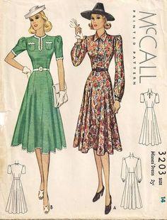 McCall 3203   1939 Misses' Dress