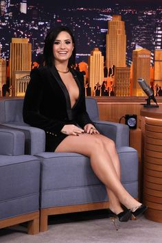 Demi Lovato on Tonight Show legs and cleavage