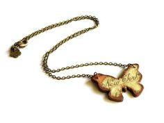 Decoupage wooden butterfly necklace with map of New by verdesedano