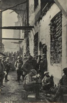 WWI, WWI, 1 Nov 1917; Members of the 2nd Australian Infantry Battalion outside their billets in the Cavalry Barracks at Ypres.