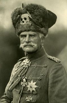 "Field Marshall Anton Ludwig August von Mackensen (German soldier, field marshall 1849-1945); The Last Hussar [wearing his jaunty, carefree 'Totenkopf', Skull and crossbones, ""The Death's Head""]"