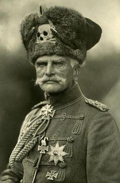 "Field Marshall Anton Ludwig August von Mackensen (German soldier, field marshall 1849-1945); The Last Hussar [wearing his jaunty, carefree 'Totenkopf', Skull and crossbones, ""The Death's Head""]"
