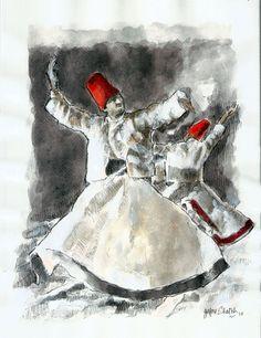 Zafar Shaikh - Sufi Dance 1 (Acrylic on Paper)
