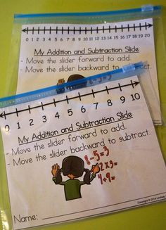 Number Line Sliders Check out this highly rated math manipulative that students LOVE! These addition and subtraction sliders are a great way for students to practice their skills. Maths Guidés, Math Classroom, Kindergarten Math, Teaching Math, Teaching Subtraction, Kindergarten Addition, Subtraction Games, Math Stations, Math Centers