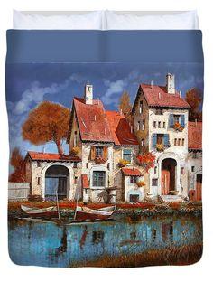 Little Village Duvet Cover featuring the painting La Cascina Sul Lago by Guido Borelli