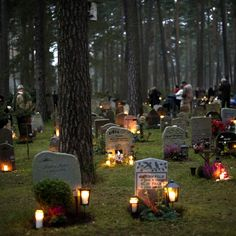 All Saints' Day is a day of dignity and reflection. The custom of lighting candles on family graves is still widely practised. Skogskyrkogården cemetery, Stockholm, a UNESCO World Heritage Site. #skogskyrkogarden #sweden #stockholm