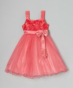 Another great find on #zulily! Coral Rosette Dress - Toddler & Girls by Shanil #zulilyfinds