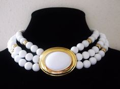 Vintage NAPIER Necklace White Lucite Bead by MemawsTopDrawer