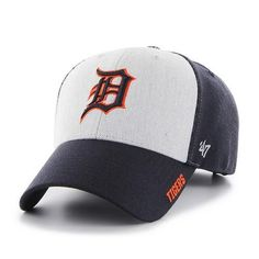 Detroit Tigers '47 Brand Adjustable Curved Hat . This hat is a new spin to an old classic Tigers spirit. This two tone style has team color structured fit side panels with a heather gray front. It als