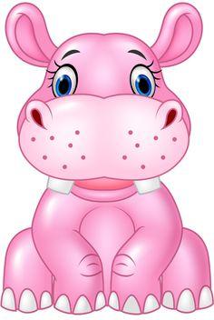 baby hippo View album on Cartoon Kunst, Cartoon Art, Cute Cartoon, Cute Drawings, Animal Drawings, Cute Images, Cute Pictures, Baby Hippo, Cute Clipart