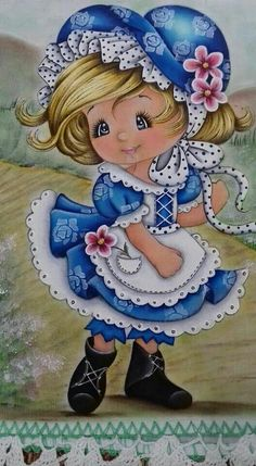 From my friend Bella ❤️ Tole Painting, Fabric Painting, Sarah Kay, Holly Hobbie, Big Eyes, Cute Drawings, Cute Art, Cute Kids, Embroidery Patterns