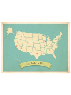 Children Inspire Design USA Roots MapCustomize with Heart Stickers