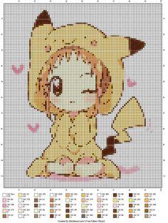 Chibi girl in a pikachu outfit. Cross stitch pattern. So cute! ^_^
