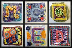 BES Art: Clay Initial Tiles JUne Best Picture For Clay Art inspiration For Your Taste You are looking for something, and it is going to tell you Clay Projects For Kids, Kids Clay, Art Lessons For Kids, Art Lessons Elementary, 6th Grade Art, Clay Tiles, Ceramics Projects, Collaborative Art, Polymer Clay Art