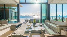 34 La Gorce Circle in Miami Beach, Florida    Living Room Opens to the Water