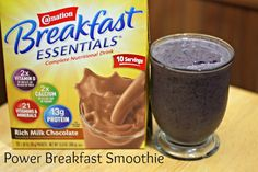 Chocolate, Banana, Blueberry, &  Spinach Power Smoothie Recipe!  #BreakfastEssentials #PMedia #Ad