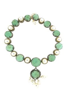 Emerald & South Sea Pearl Royalty Vintage Diamond Necklace - 11.45 ctw by Bansri on @HauteLook